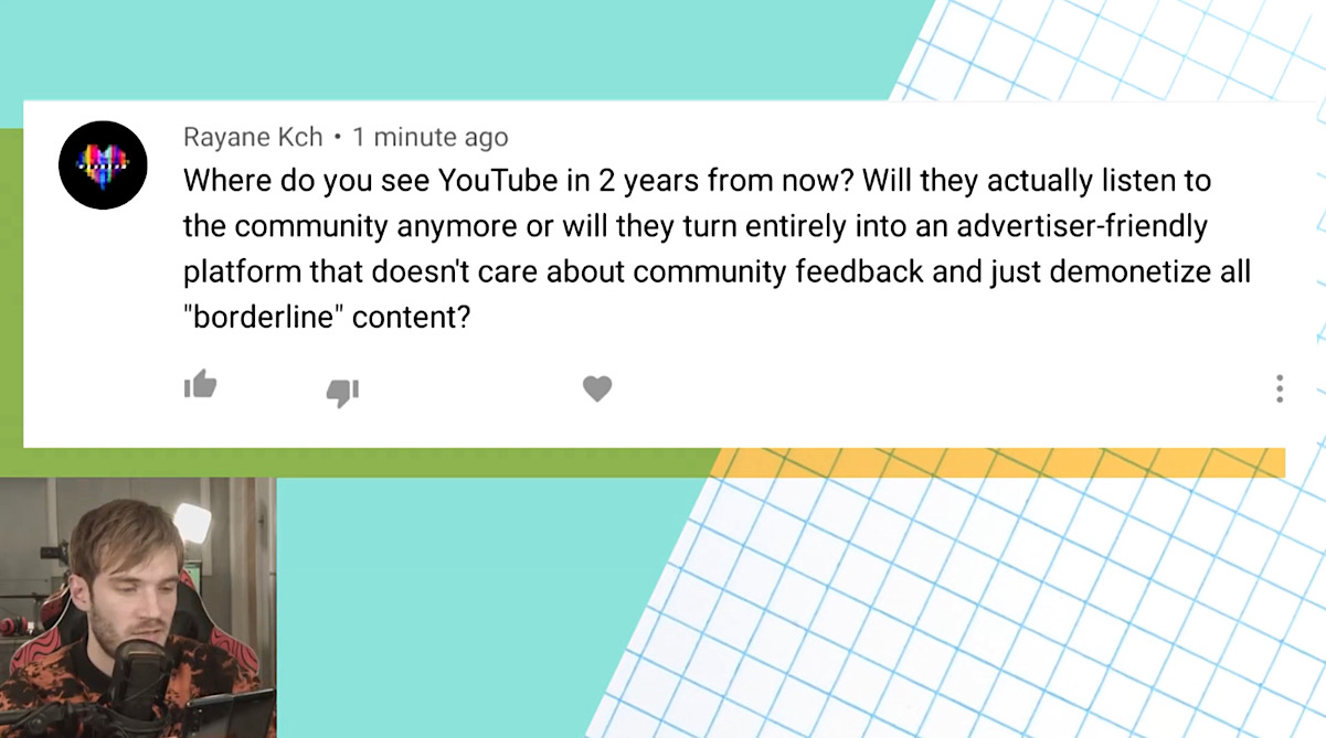PewDiePie was asked to discuss where he sees YouTube going in the next two years (YouTube - PewDiePie)