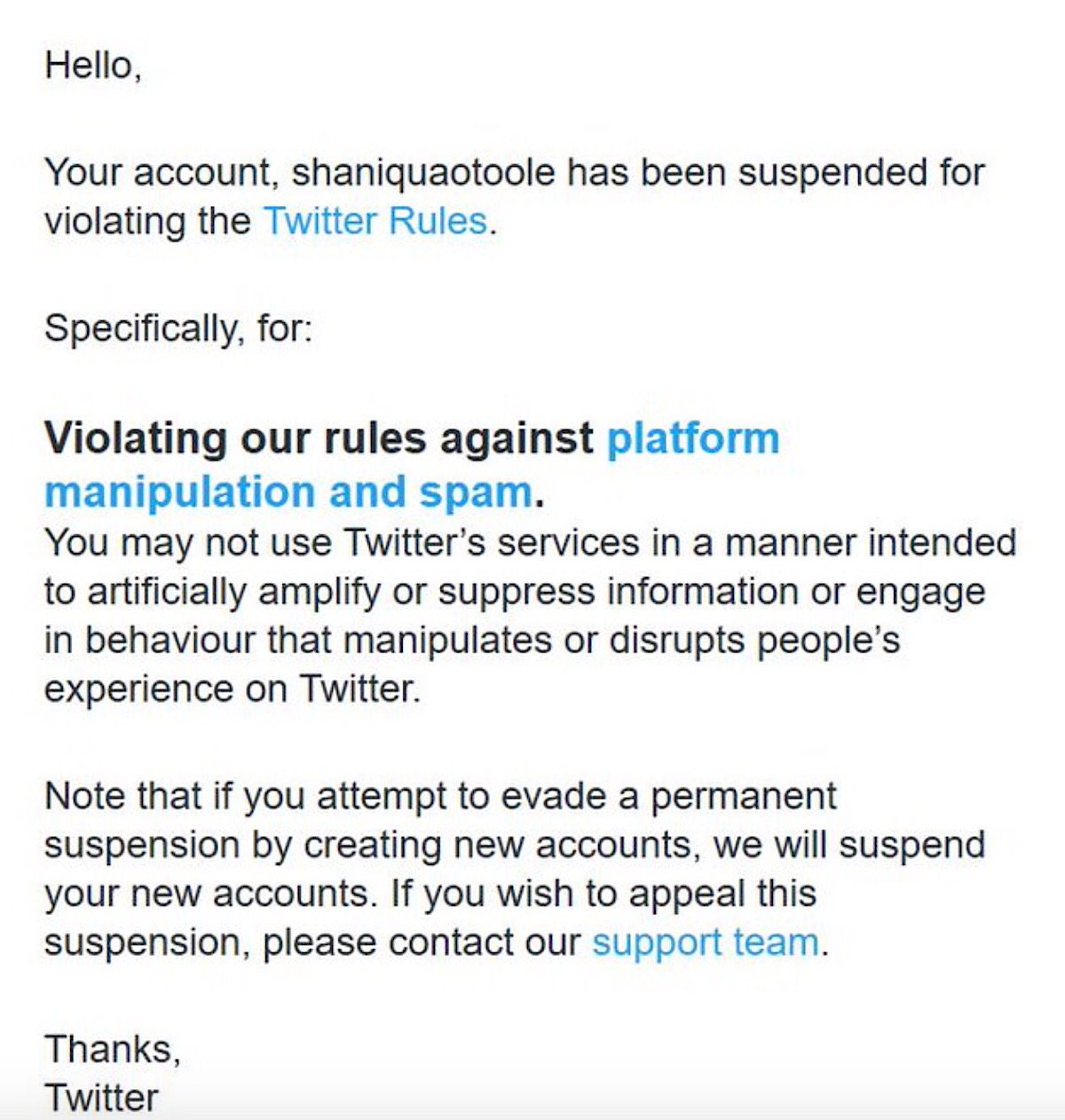 Twitter's message telling Shanique O'Toole that the account has been suspended.