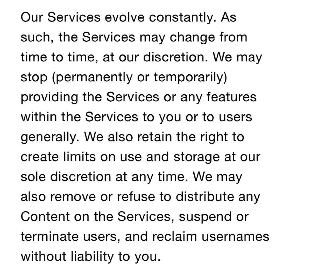 Twitter's current terms of service with no reference to content throttling or shadow banning (Source: Twitter)