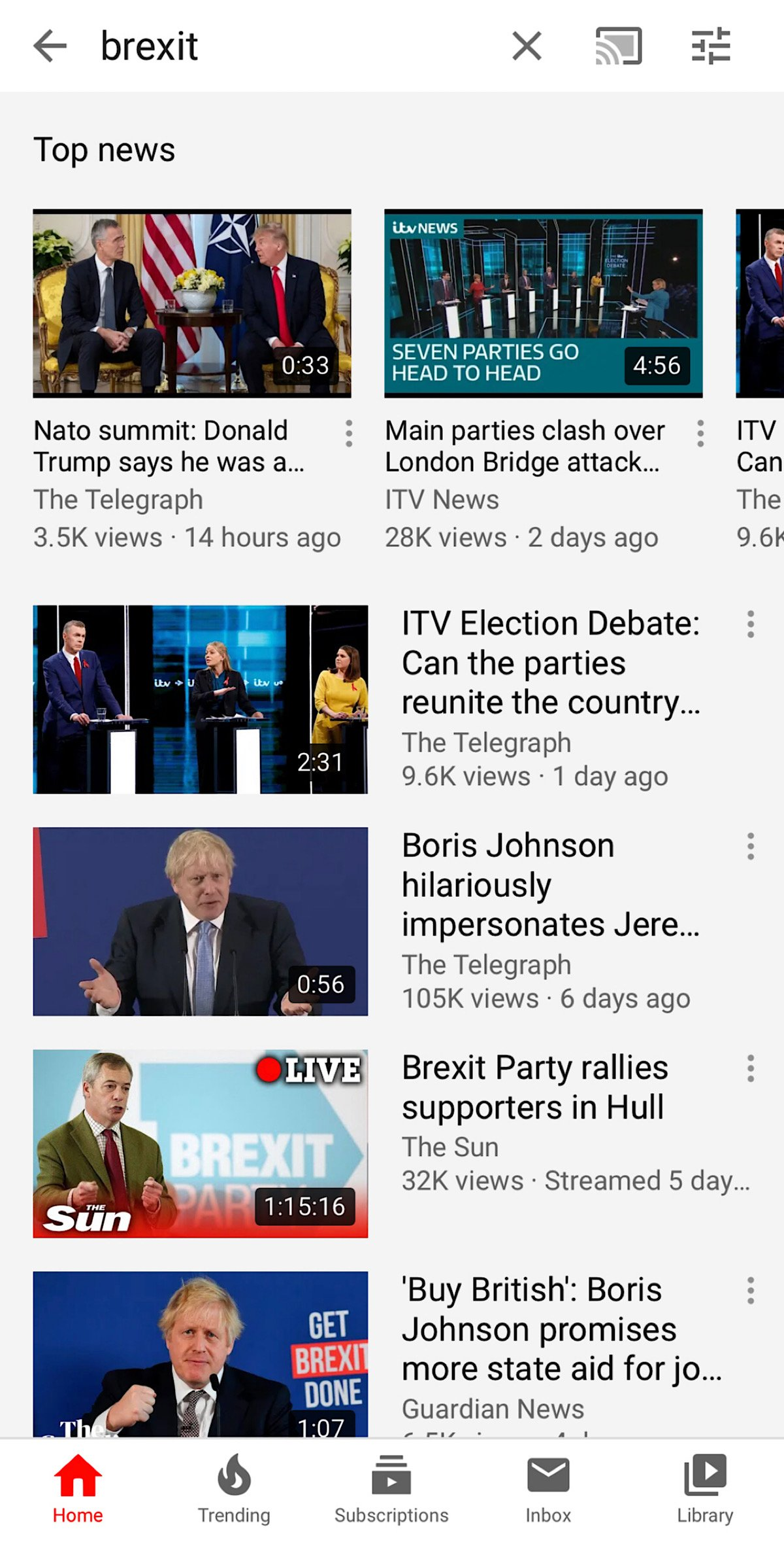 """YouTube search results for """"Brexit"""""""