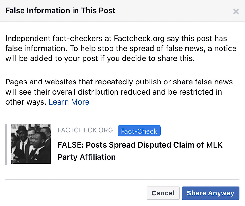 Facebook users that attempt to share this Martin Luther King Jr. MAGA hat meme are shown this warning message (Facebook - Mark Dice)