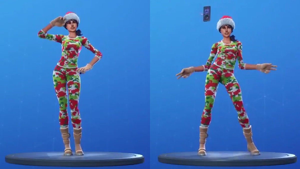 A before and after comparison showing the impact of the swelling that takes place during the selfie part of the Poki emote (Reddit - r/FortniteBR)