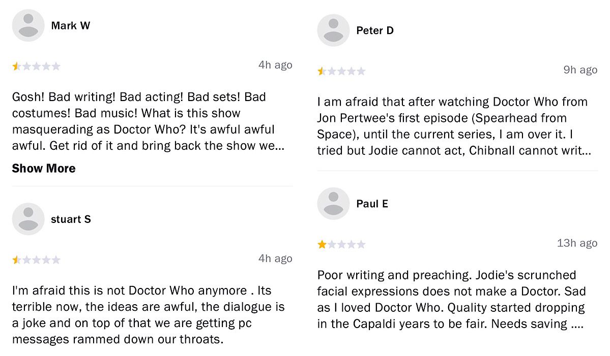 Current user reviews show similar criticisms of the Doctor Who: Season 12's themes, quality, story, and acting (Rotten Tomatoes - Doctor Who: Season 12)