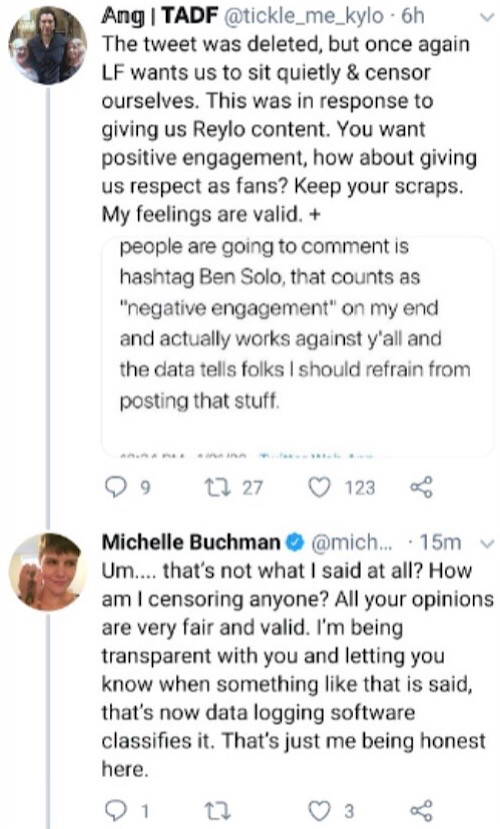 One Reylo accused Buchman of encouraging them to self-censor (Twitter - @saltandrockets)