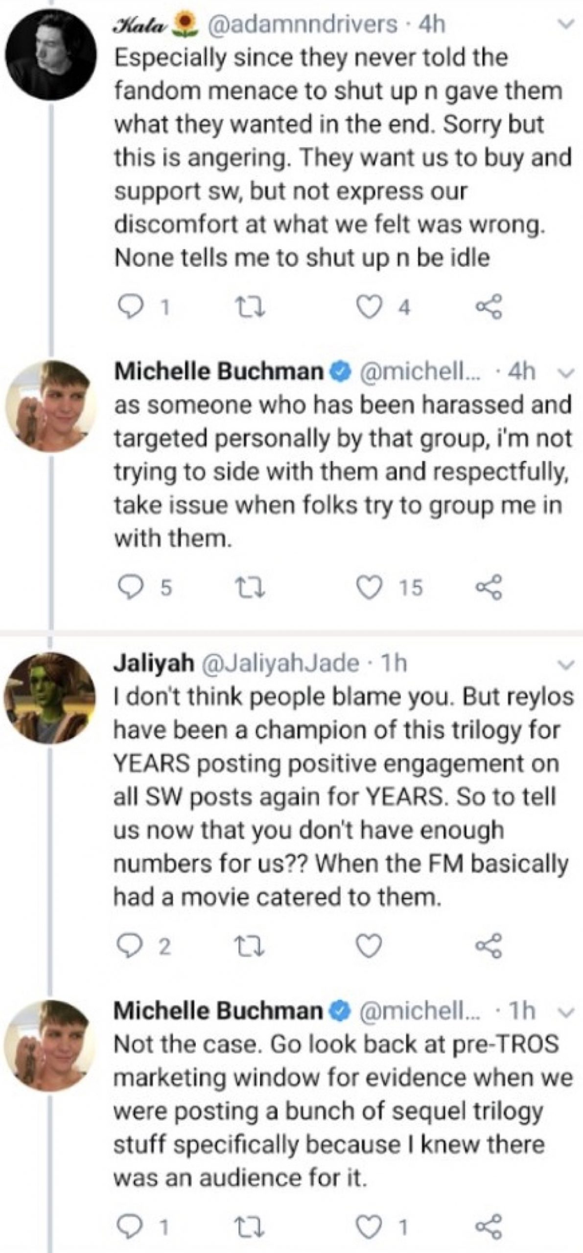 """Reylos accused Buchman of telling them to """"shut up"""" (Twitter - @saltandrockets)"""