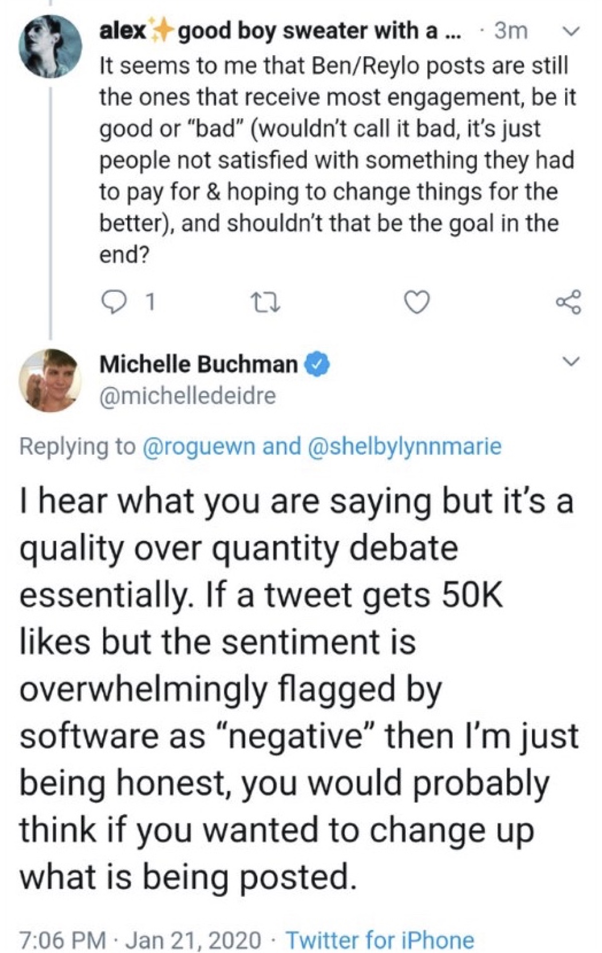 """Buchman said Reylo posts generate engagement that's overwhelmingly flagged by software as """"negative"""" (Twitter - @saltandrockets)"""