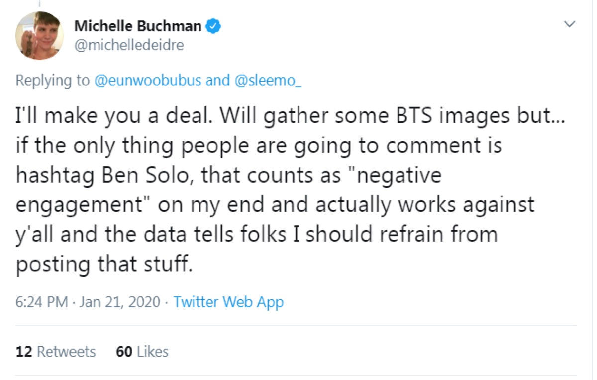 """Buchman said the Ben Solo hashtag counts as """"negative engagement"""" on her end and advised Reylos that it works against them (Twitter - @saltandrockets)"""