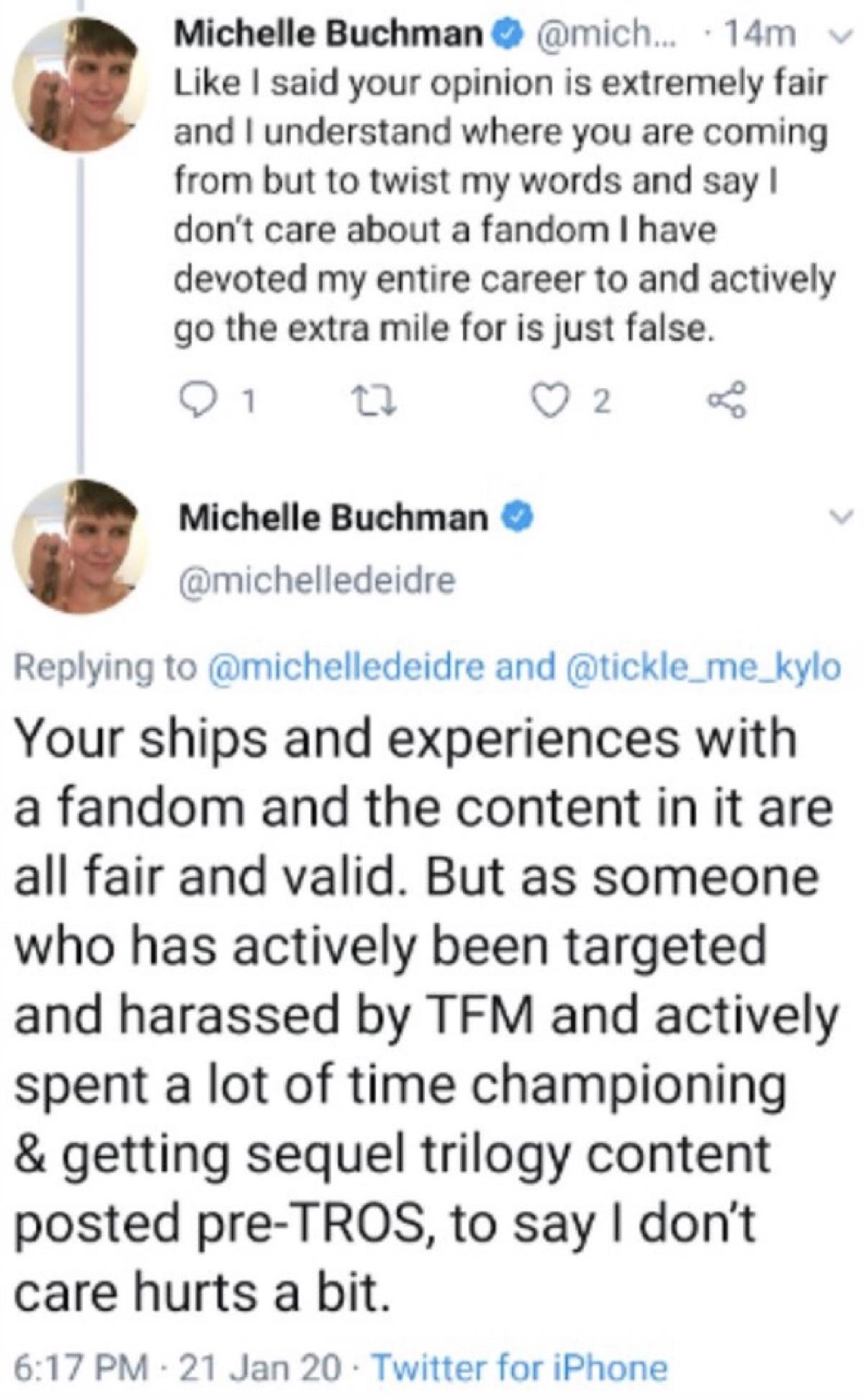 Buchman said the Reylos accusations that she doesn't care were hurtful (Twitter - @saltandrockets)