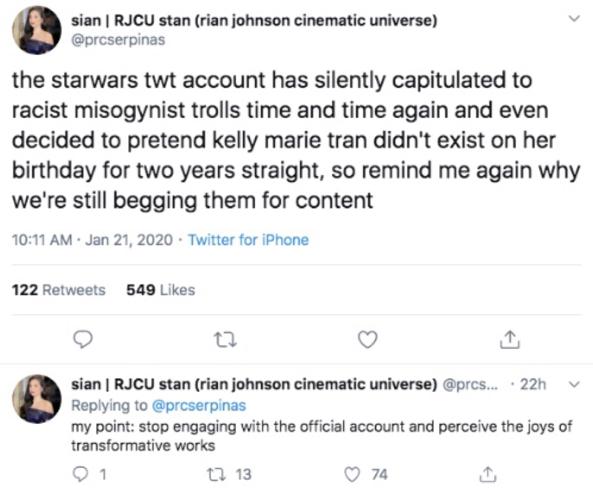 """One Reylo accused Buchman of capitulating to """"racist misogynist trolls"""" (Twitter - @saltandrockets)"""