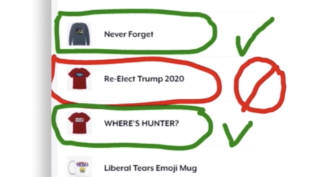 "YouTube removed this ""Re-Elect Trump 2020"" t-shirt from the merch shelf of The Next News Network (YouTube - Mark Dice)"