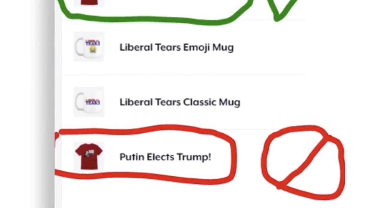 "YouTube removed this ""Putin Elects Trump!"" t-shirt from the merch shelf of The Next News Network (YouTube - Mark Dice)"