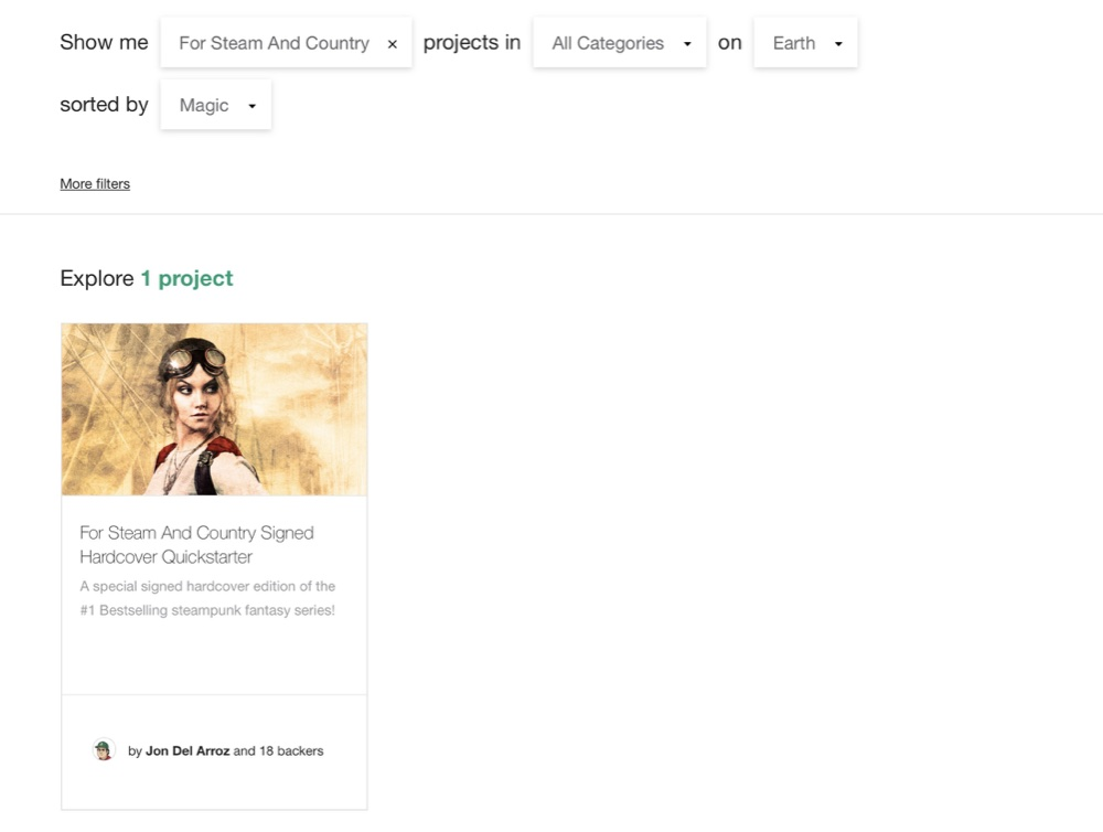 """Searching for """"For Steam And Country"""" on Kickstarter shows Del Arroz's project as the sole result"""