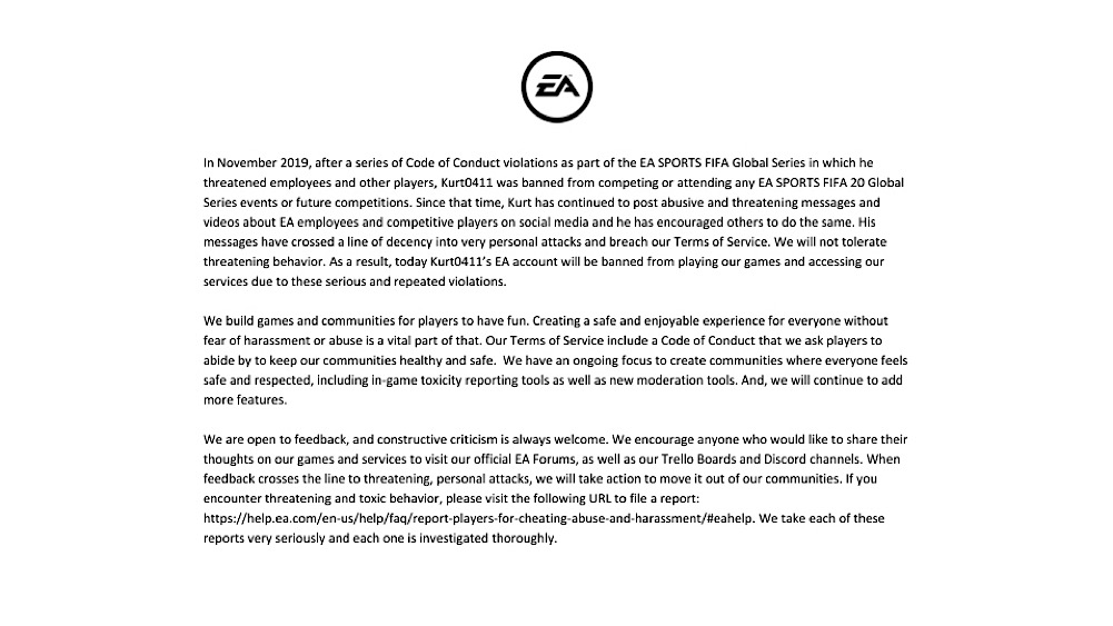 "EA's statement accused Kurt of ""posting abusive and threatening messages"" on social media (Twitter - @EA)"