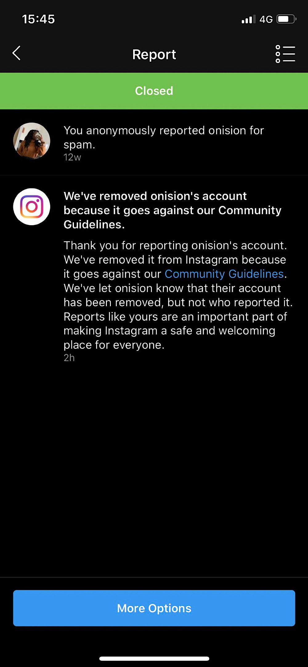 Twitter user @seeoftrees_ claimed her report led to Onision's Instagram account being deleted