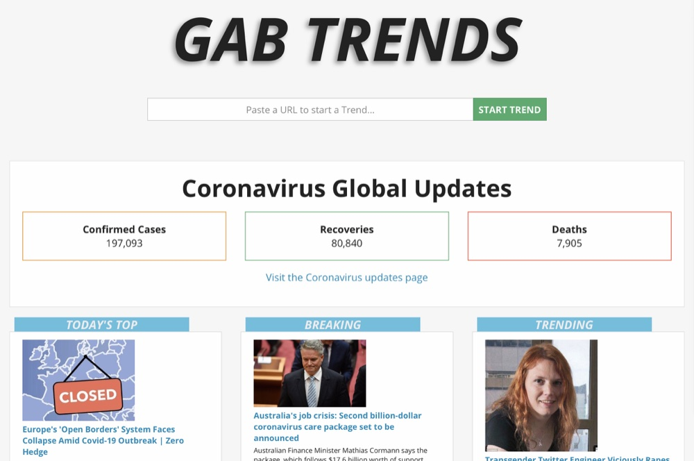 The Coronavirus Global Updates section on the Gab Trends homepage provides an overview of coronavirus statistics