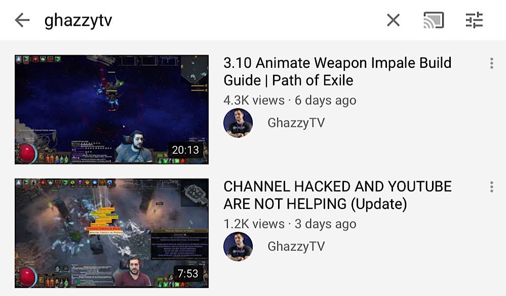 GhazzyTV's videos are visible in YouTube search