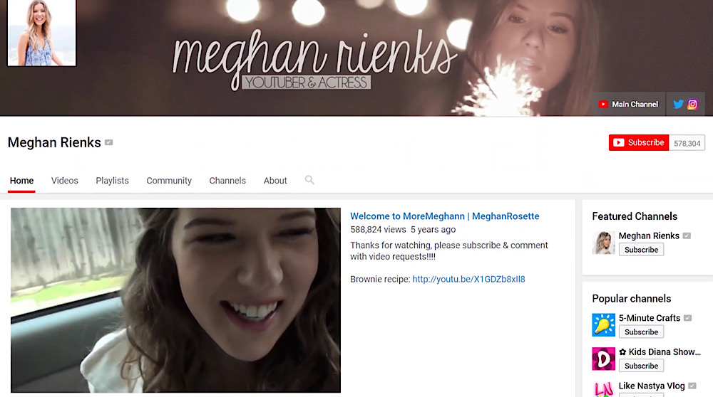 Rienks' vlog channel contained her videos and branding before hackers took control (YouTube - Meghan Rienks)