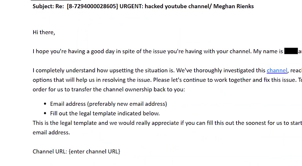 YouTube asked Rienks to fill out a legal template in order to regain access to her channel (YouTube - Meghan Rienks)