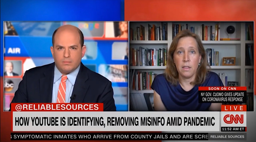 "YouTube CEO Susan Wojcicki told CNN's Brian Stelter ""anything that would go against World Health Organization recommendations"" is a violation of YouTube's policies (CNN - Reliable Sources)"