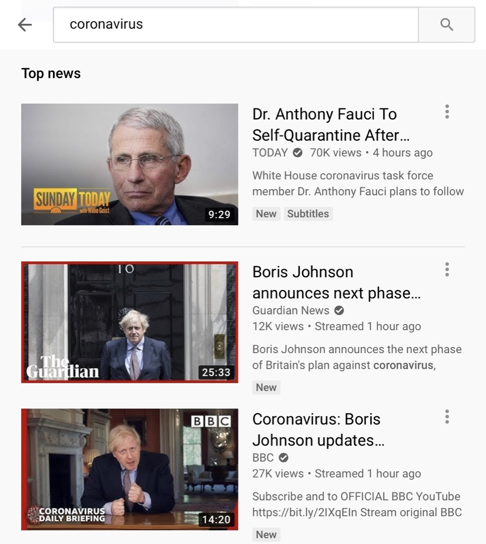 YouTube's heavy promotion of authoritative sources makes it almost impossible to find coverage of news and current events from independent creators